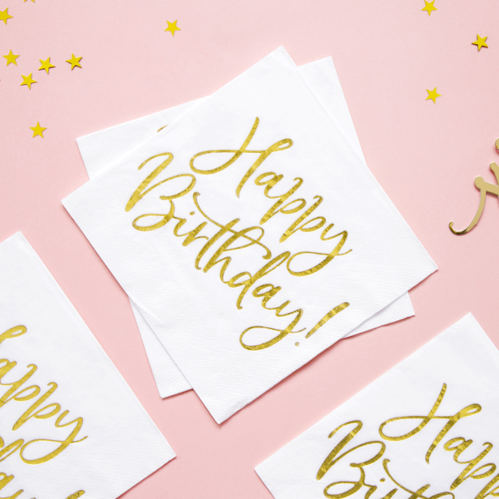 White and Gold 'Happy Birthday' Paper Party Napkins x 20