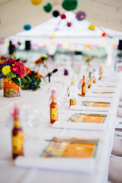Mexican Travel Wedding Theme Place Settings with Taco Sauce