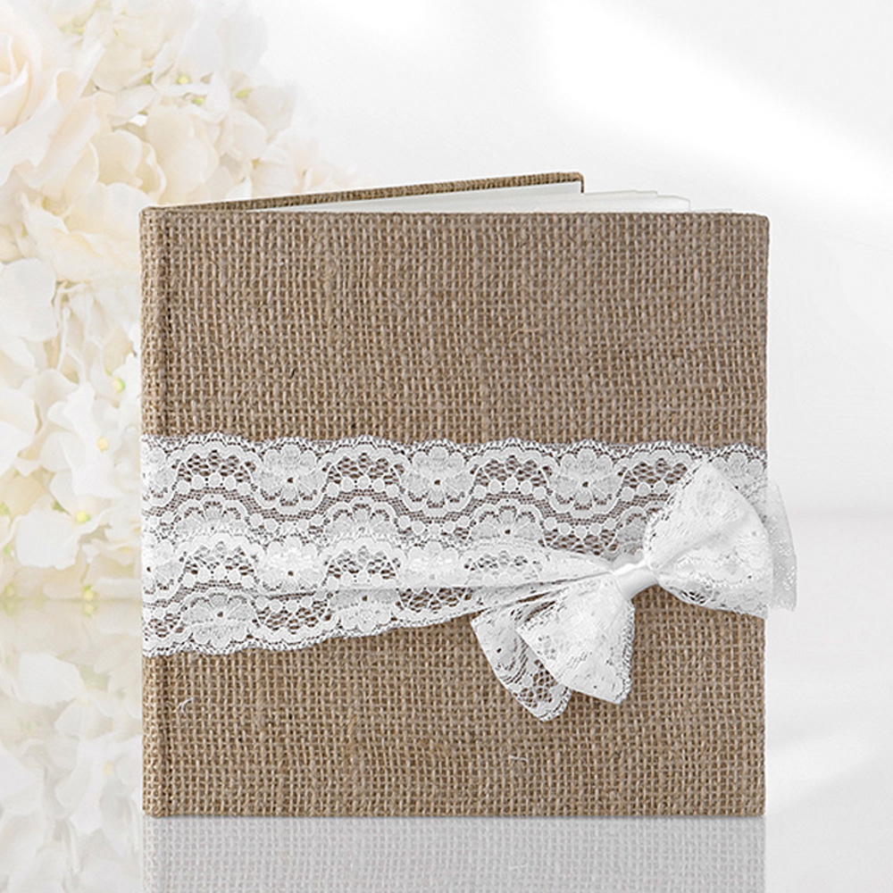 Rustic Hessian Lace Wedding Guest Book
