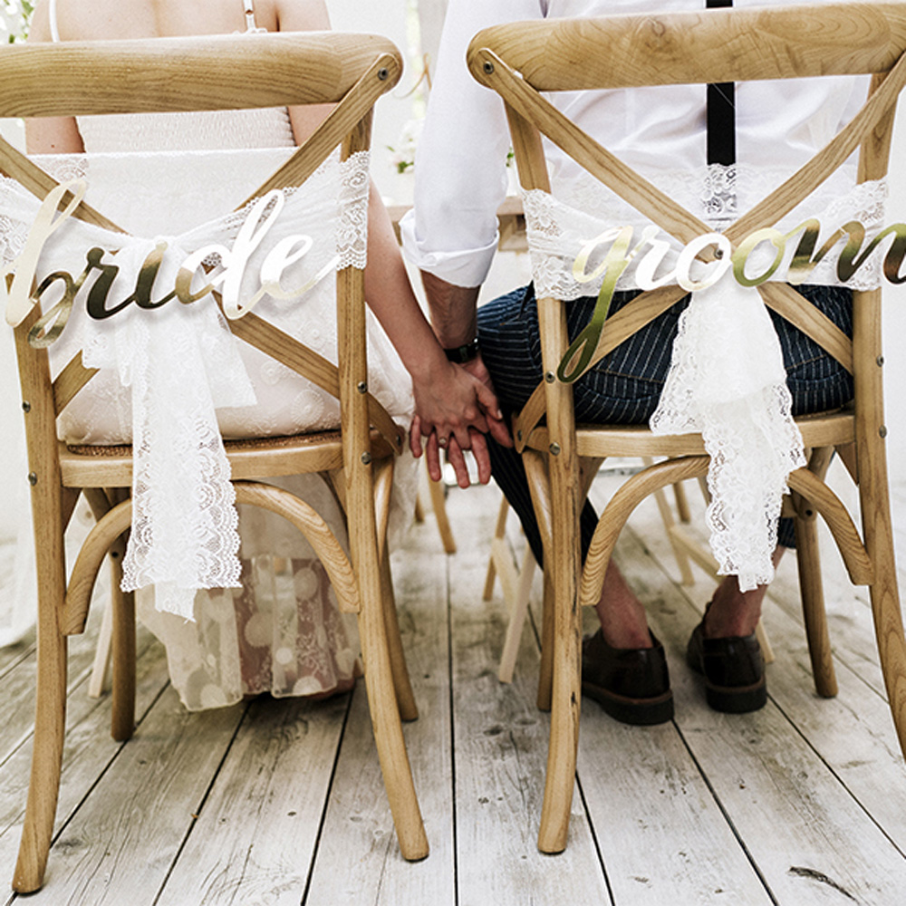 Rustic Bride and Groom chair Signs