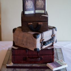 Travel Themed Wedding Ideas Three tier suitcase passports