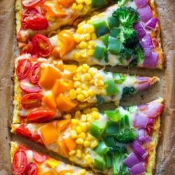 Rainbow pizza for childrens parties
