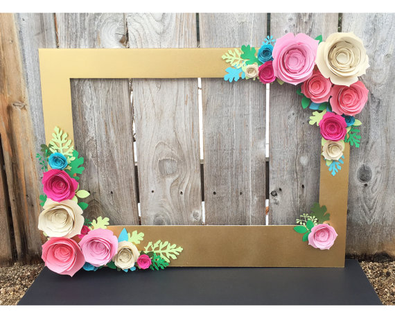 Unicorn Party Supplies Gold Floral Photo Booth
